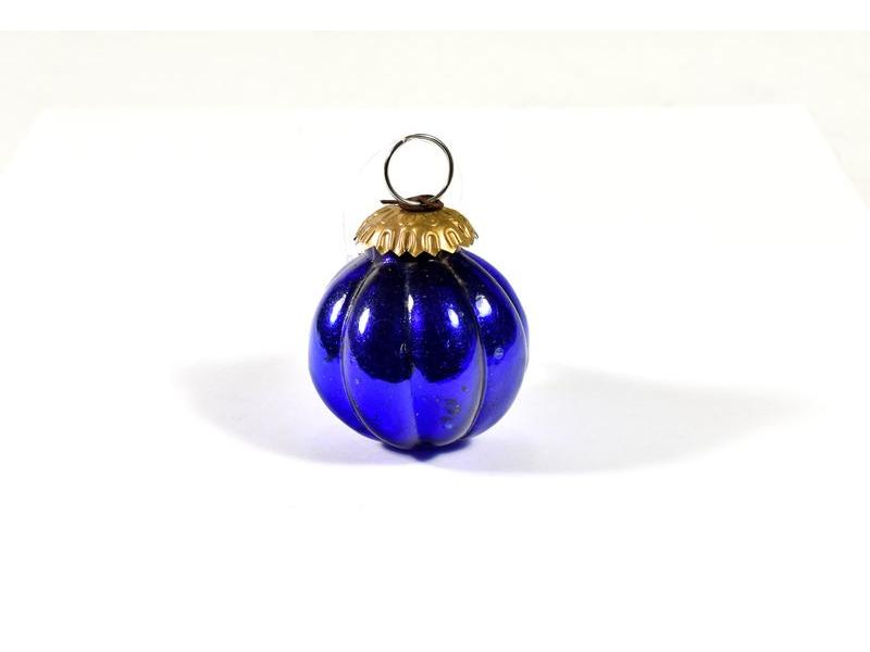 Skleněná vánoční ozdoba, tvar dýně, modrá,  6x6cm