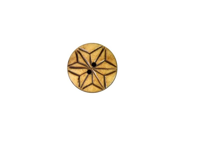 Knoflík, rohovina, kulatý, hnědý, hvězda, 2,5cm