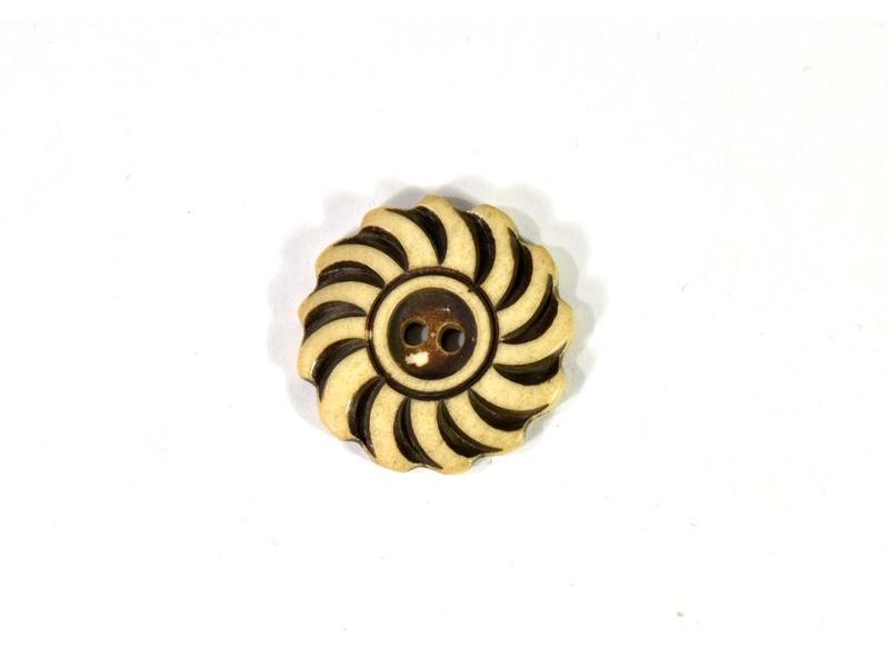Knoflík, rohovina, kulatý, hnědý, květina, 3cm