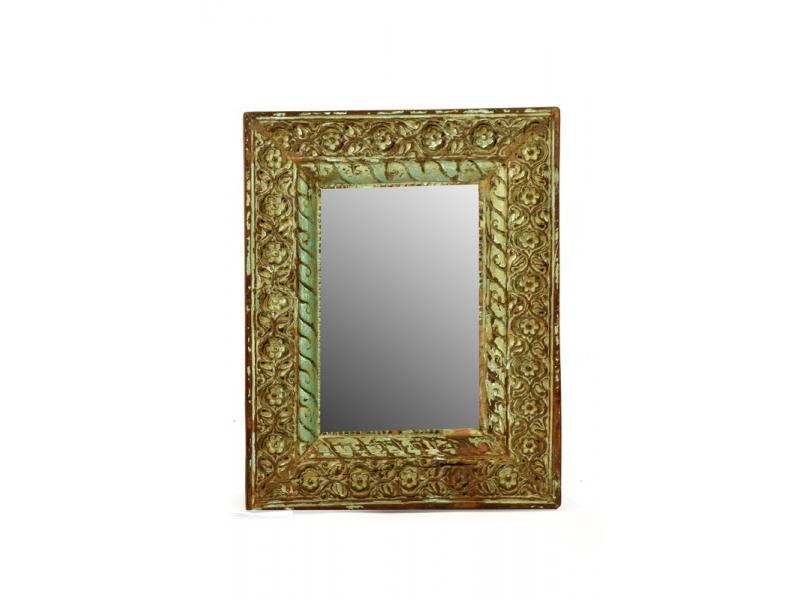 Zrcadlo ve vyřezávaném rámu z antik teakového dřeva, tyrkysová patina 41x52x6cm