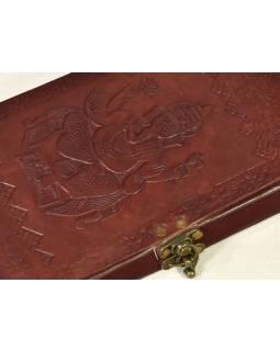 Notes, Ganesha, kožený obal, rýžový papír, vázání, cca 14X23cm