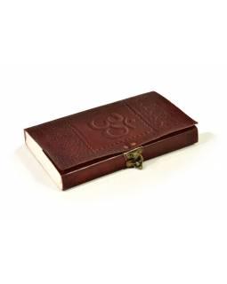 Notes, Om, kožený obal, rýžový papír, vázání, cca 14X23cm
