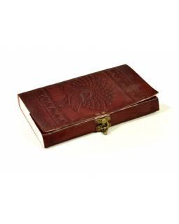 Notes, páv, kožený obal, rýžový papír, vázání, cca 14X23cm