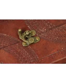 Notes, kožený obal, rýžový papír, vázání, cca 14X23cm