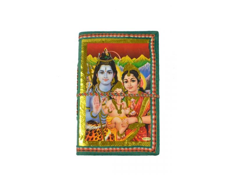 Zdobený notes se Šivou, Parvati a Ganeshou, zelený, rýžový papír, vázání,15x9,5