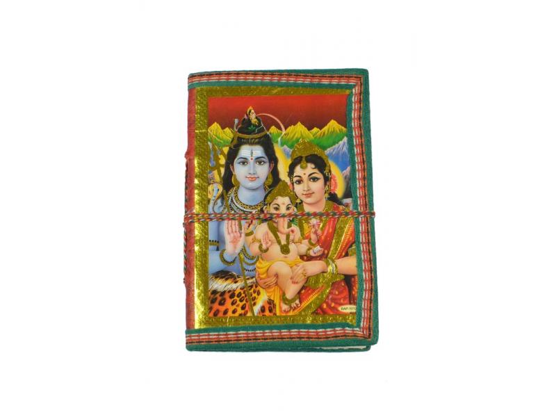 Zdobený notes se Šivou, Parvati a Ganeshou, červený, rýžový papír, vázání,15x9,5