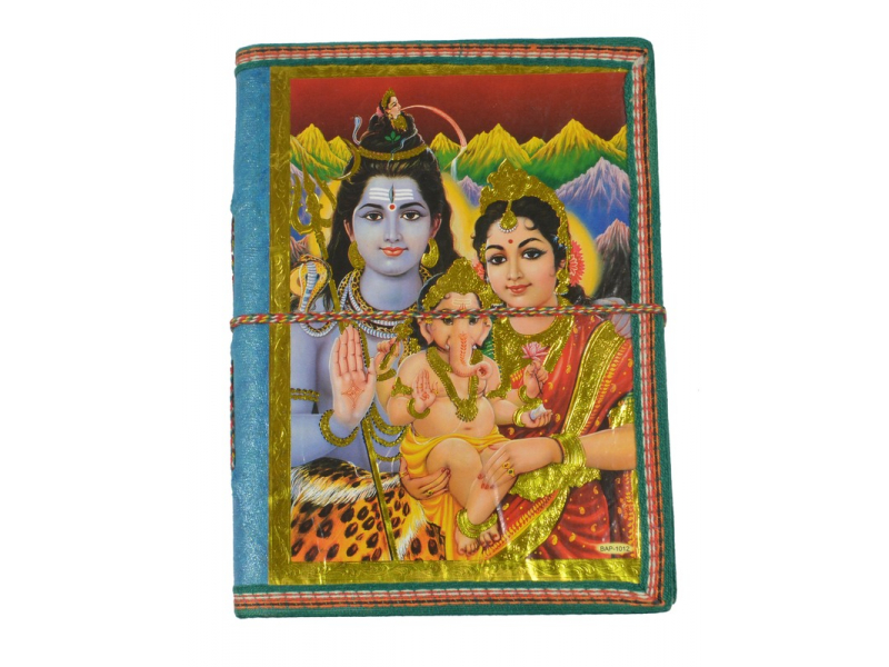Zdobený notes se Šivou, Parvati a Ganeshou, tyrkys., rýžový papír, 19,5x14,5cm