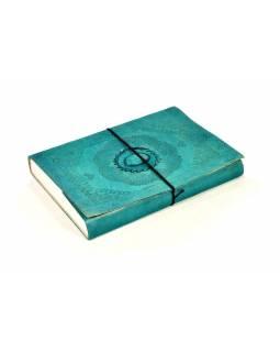 Notes v tyrkysové kožené vazbě s ozdobným kamenem, ruční papír,  25x18cm