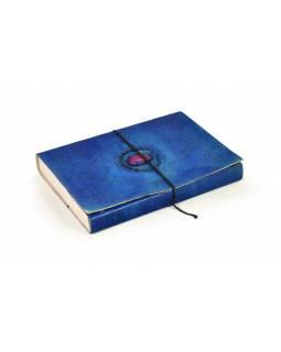 Notes v modré kožené vazbě s ozdobným kamenem, ruční papír,  25x18cm
