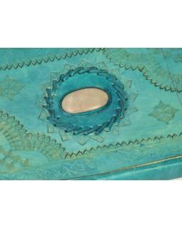 Notes v tyrkysové kožené vazbě s ozdobným kamenem, ruční papír, 14x23cm