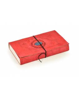 Notes v červené kožené vazbě s ozdobným kamenem, ruční papír, 14x23cm