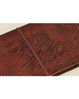 Notes v kožené vazbě s velbloudem, ruční papír, 13x22cm