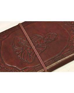 Notes v kožené vazbě s Buddhou, ruční papír, 13x22cm