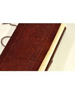 Notes v kožené vazbě se slonem, ruční papír, 13x22cm