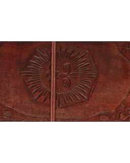 Notes v kožené vazbě se sluncem, ruční papír, 13x22cm