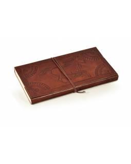 Notes v kožené vazbě s koňem, ruční papír, 13x22cm