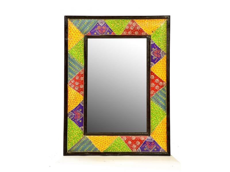 Zrcadlo v barevném rámu, ručně malované, 45x60x1cm