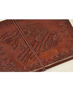Notes v kožené vazbě s velbloudem , ruční papír, 13x18cm
