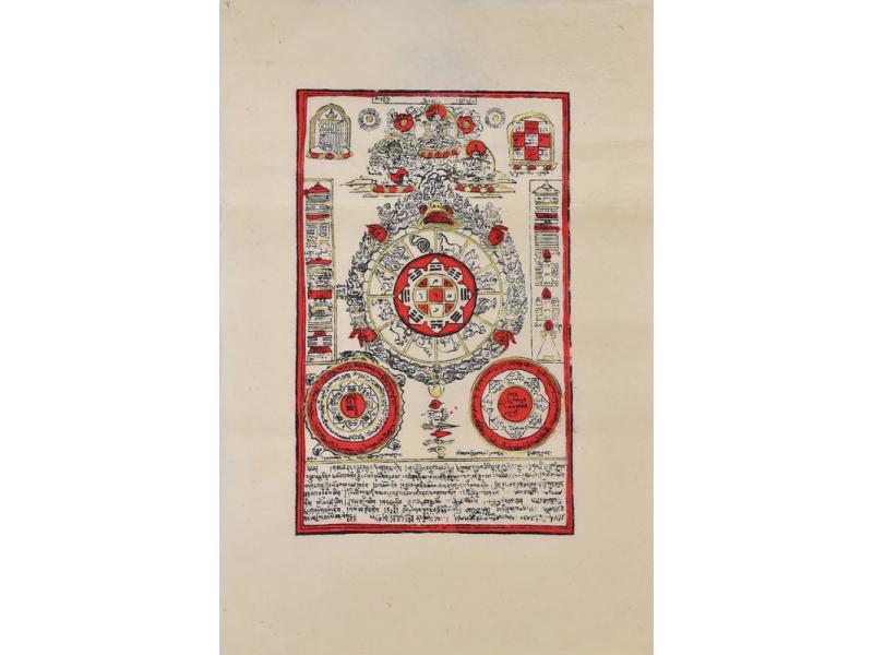 Tisk, černočervenobílý, zlacený, zvěrokruh, 50x75 cm