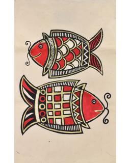Tisk, černočervenobílý, zlacený, ryby, 50x75 cm