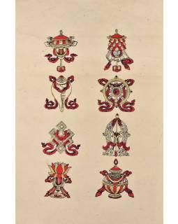 Tisk, černočervenobílý, zlacený, ruční papír, astamangal, 50x75 cm