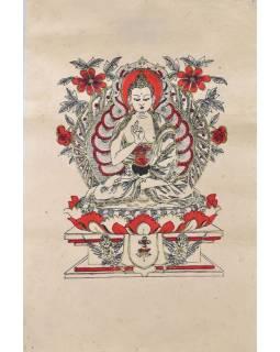 Tisk, černočervenobílý, zlacený, Buddha, 50x75 cm
