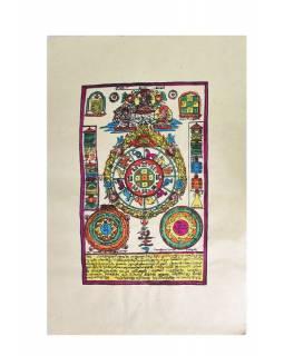 Tisk, kolorovaný, zlacený, zvěrokruh, 50x75 cm