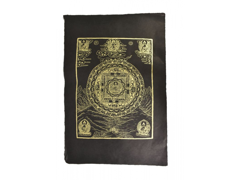Buddha Mandala, zlatý tisk na černém ručním papíru, 50x75cm