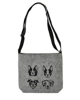Filcová kabelka z recyklovaného materiálu, výšivka Crossbody Dogs, 30x28x8cm