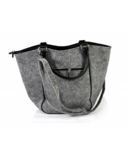 Filcová kabelka z recyklovaného materiálu, výšivka Love Dogs, 42x28x10cm