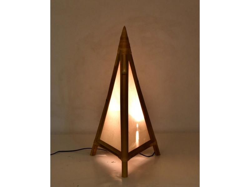 Stojací lampa/stínidlo z bambusu a látky, 40x40x80cm