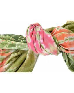 Šátek, bavlna, batika zeleno-oranžová, třásně, 110x110cm