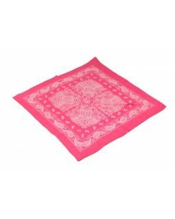 Šátek s paisley potiskem, růžový, 50x50cm