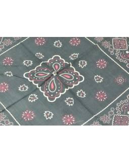 Šátek s potiskem květinek, šedý, 50x50cm