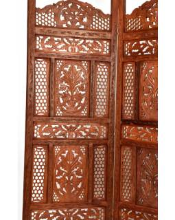 Hnědý vyřezávaný paraván z mangového dřeva, 204x2,5x181cm