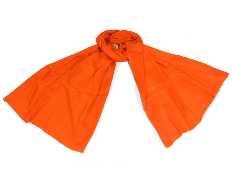 Oranžová pašmína s jemným paisley vzorem, 80x210cm