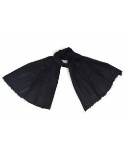 Černá pašmína s jemným paisley vzorem, 80x210cm