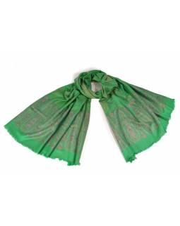 Zelený šál s jemným zlatým paisley designem, vínové protkávání, 200x70cm