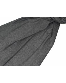 Pravá pašmína, tmavě šedá, 200x70cm