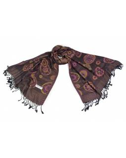 Šátek, kolečkový design, černo-fialové, třásně, viskóza, 170x75cm
