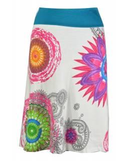 """Bílá sukně ke kolenům  """"Noely"""" s barevnými mandalami"""
