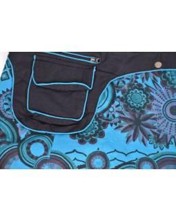 Krátká tyrkysová sukně zapínaná na patentky, kapsa, flower print