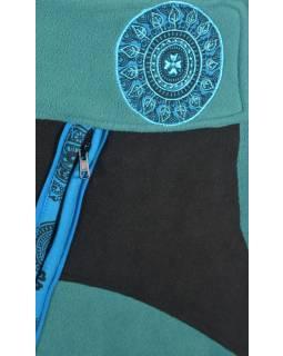 Krátká tyrkysovo černá fleecová sukně s výšivkami, zapínání na zip, kapsa