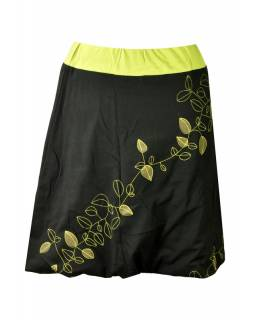 """Krátká černá balonová sukně, """"Leaves"""" design, zelený potisk a výšivka"""