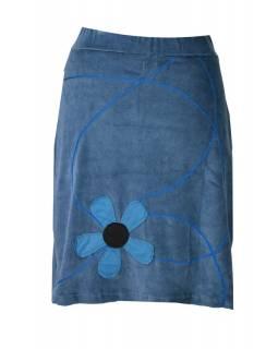 Krátká šedá sametová sukně, aplikace barevné květiny