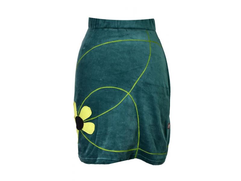 Krátká petrolejová sametová sukně, aplikace barevné květiny