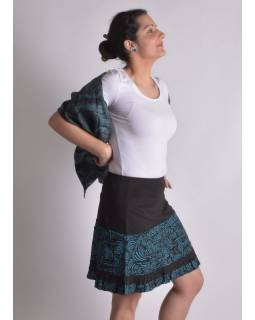 Krátká černo-tyrkysová sukně s volánky, elastický pas, potisk