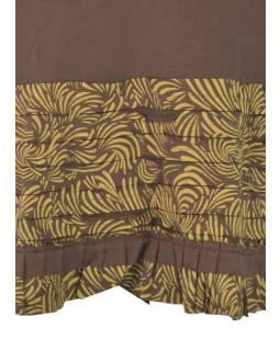 Krátká šedo-žlutá sukně s volánky, elastický pas, potisk