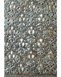 Vyřezávaný panel z mangového dřeva, modrá patina, 76x7x107cm