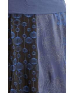 Krátká balonová sukně s potiskem, čeno-fialová, elastický pas